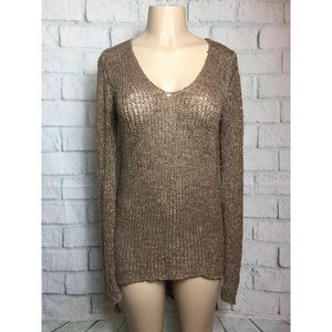 Umgee Long Sleeved Lace Brown Sweater Tunic